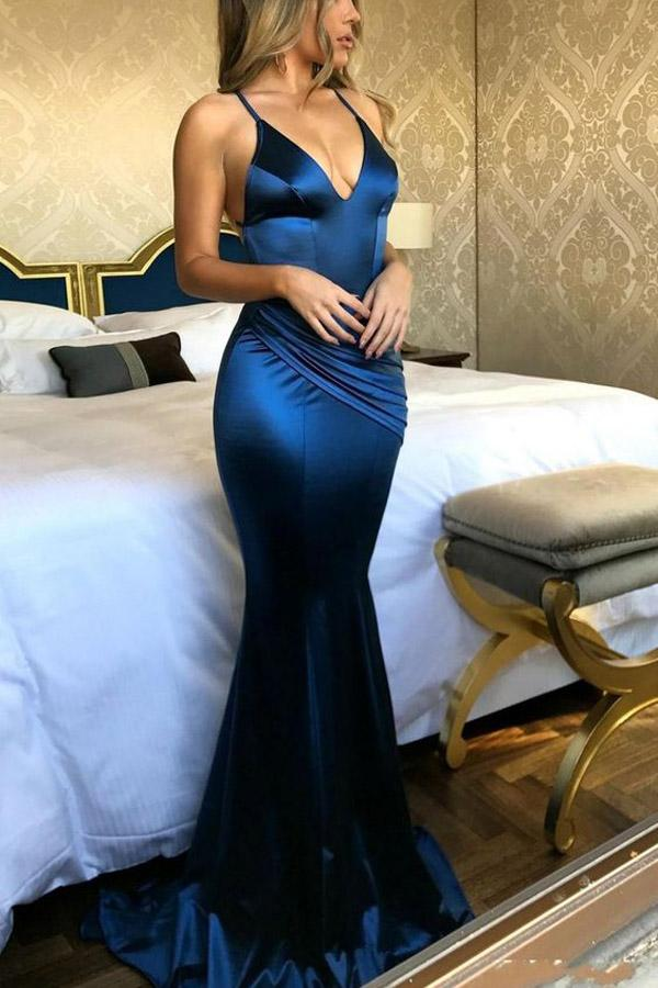 New Arrival Royal Blue Simple V neck Mermaid Spaghetti Straps Prom Dresses, MP373