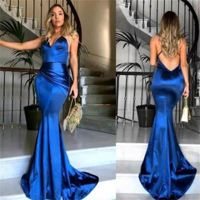 New Arrival Royal Blue Simple V neck Mermaid Spaghetti Straps Prom Dresses, MP373|musebridals.com