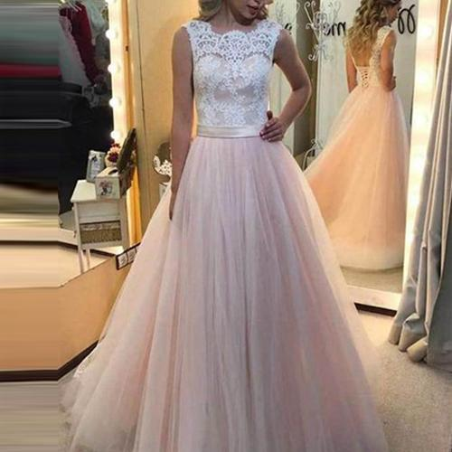 musebridals.com offer Cheap Pink Tulle A Line White Lace Lace Back Up Long Prom Dresses online, MP412