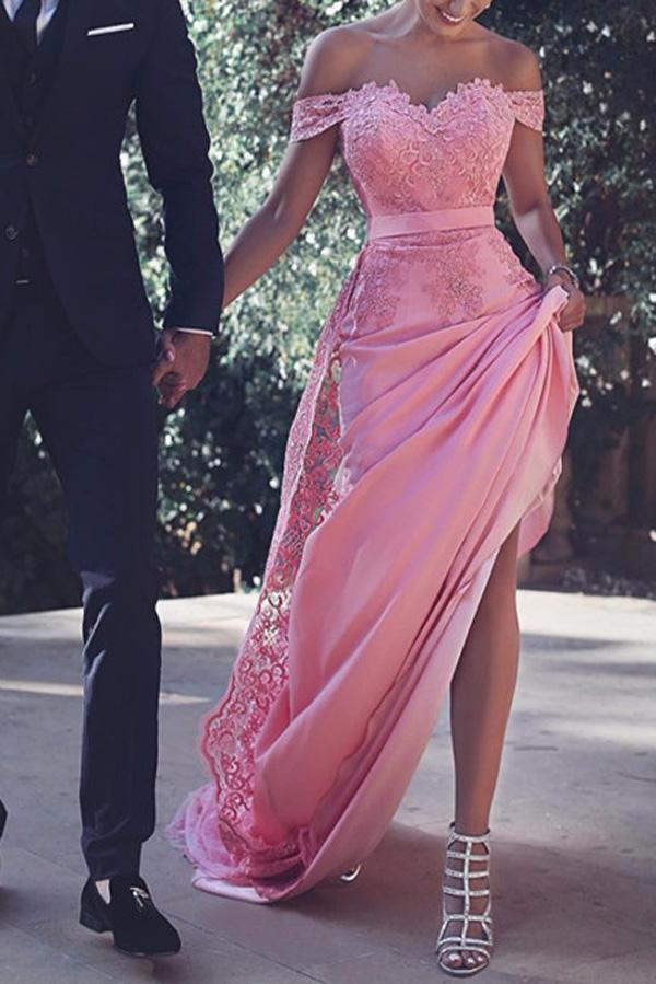 Pink Satin Off Shoulder Cap Sleeves Long Prom Dresses With Appliques, MP337