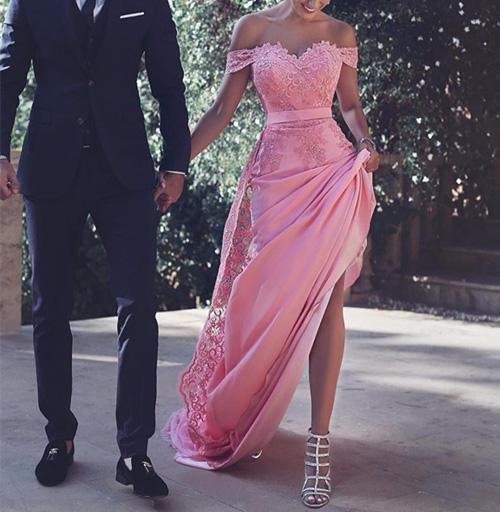 Pink Satin Off Shoulder Cap Sleeves Long Prom Dresses With Appliques, MP337|musebridals.com