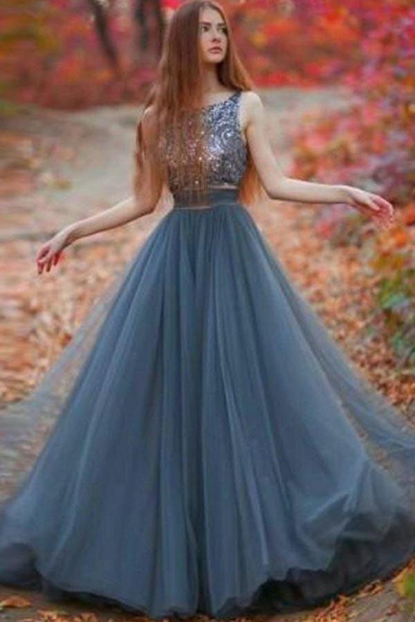 Grey Tulle A-line Backless Long Prom Dresses, New Arrival Evening Dress, MP249