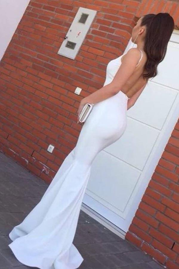Simple White Backless Spaghetti Straps Mermaid Prom Dresses, Evening Dresses, MP394