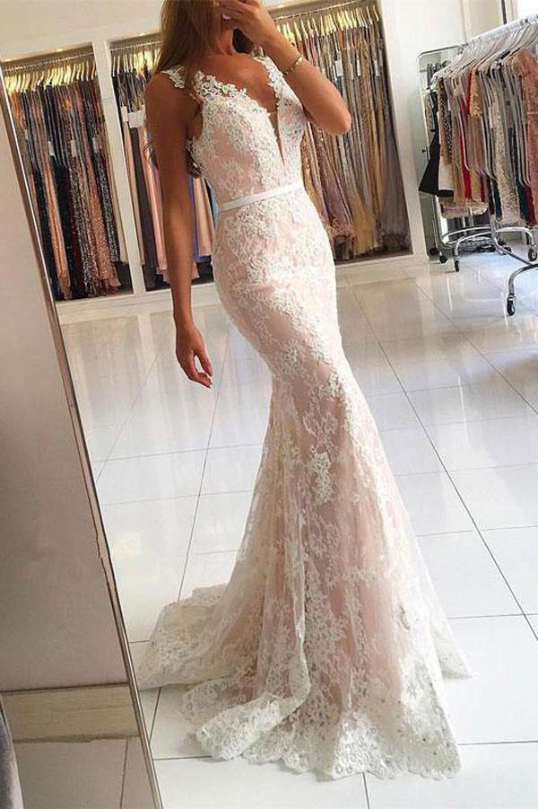 Gorgeous Ivory Mermaid V-neck Lace Long Prom Dresses with Sweep Train, MP263