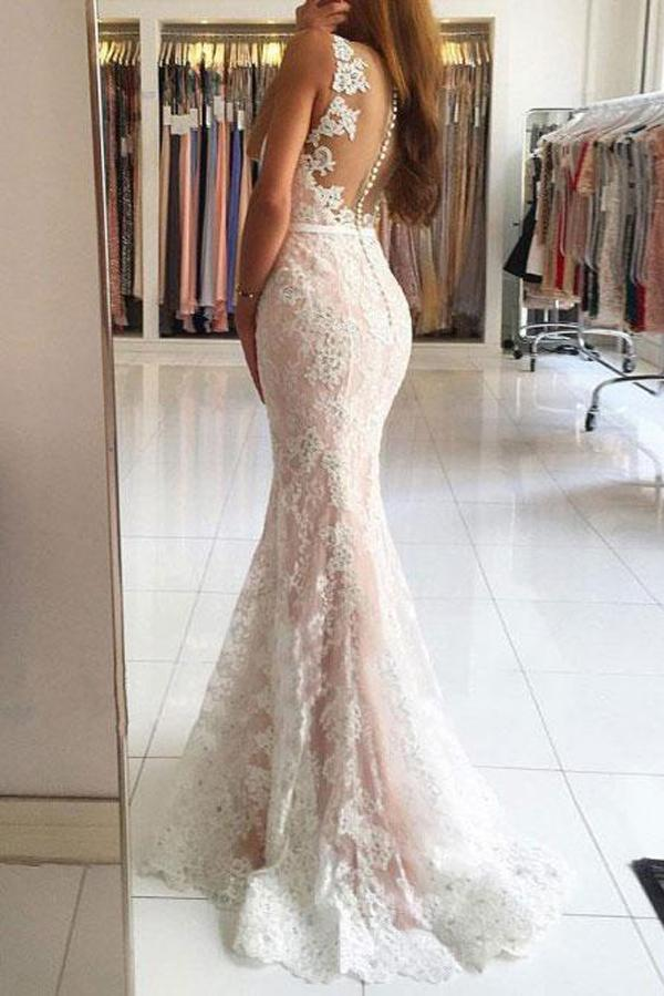 Gorgeous Ivory Mermaid V-neck Lace Long Prom Dresses with Sweep Train, MP263|musebridals.com