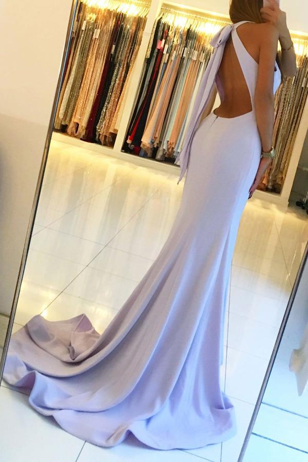 Ligh Blue Backless Mermaid Long Prom Dresses with Side Slit, Party Dresses, MP120 at musebridals.com