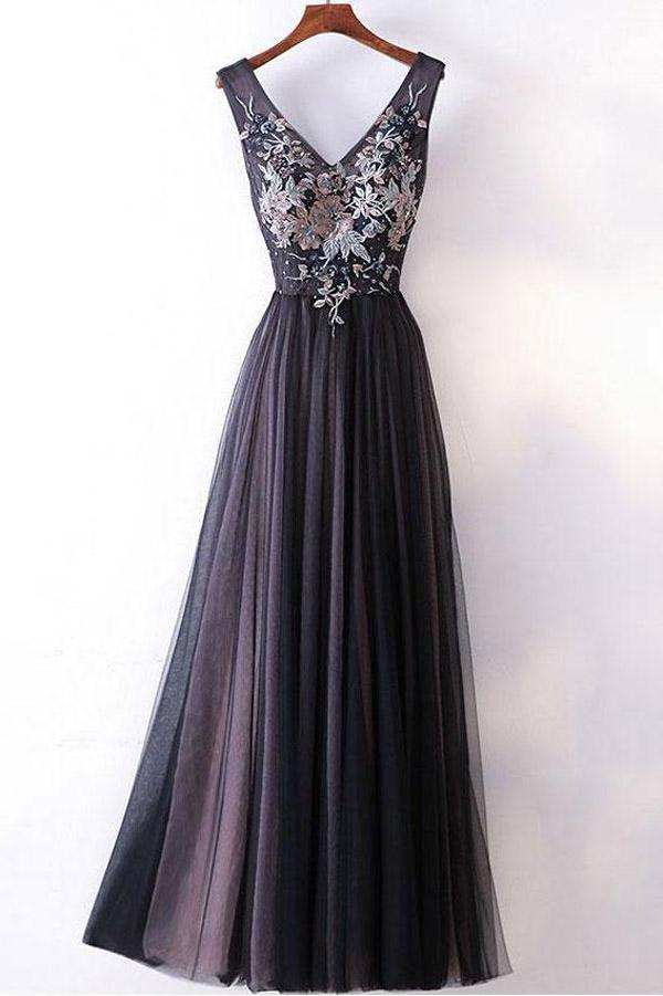 Dark Grey A-line V-neck Princess Long Prom Dresses with Appliques, MP391