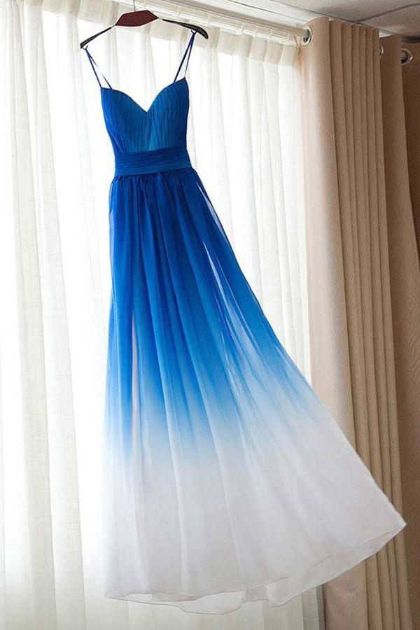 Ombre Royal Blue Simple Spaghetti Straps Prom Dresses, Bridesmaid Dresses, MP370