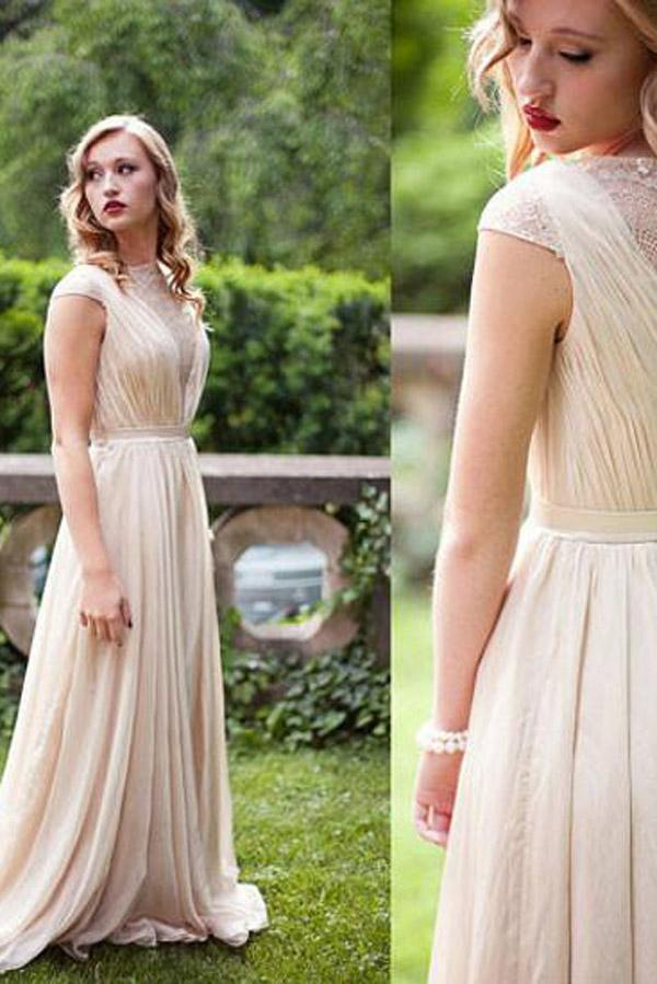 Chiffon Cap Sleeves A-line Bridesmaid Dresses, Simple Long Prom Dress, MB103