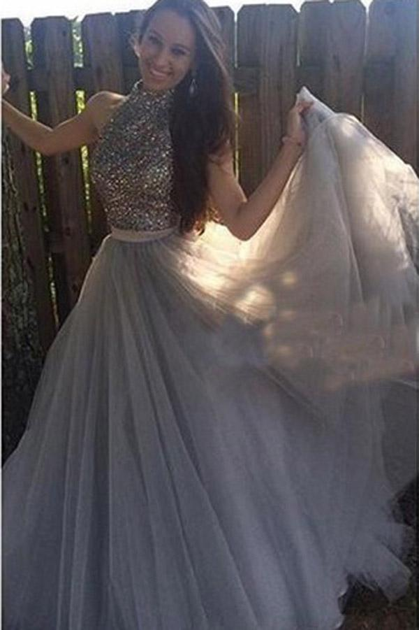 Grey Tulle  High Neck A-line Halter Long Prom Dress with Beading, Evening Dress, MP252