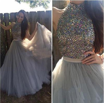 Grey Tulle  High Neck A-line Halter Long Prom Dress with Beading, Evening Dress, MP252|musebridals.com