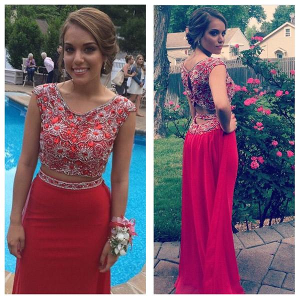 Red Mermaid Beaded Two Pieces Long Prom Dresses, Formal Dress, MP358|musebridals.com