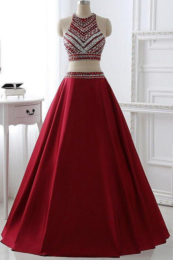 Burgundy Satin A-line Beaded Two Pieces Long Prom Dress Evening Dresses, MP155