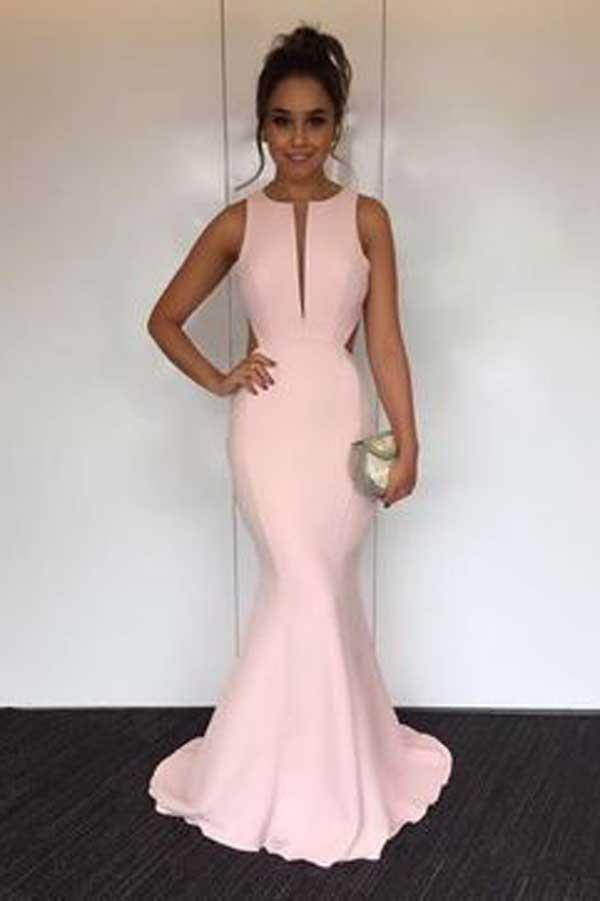 Pearl Pink Round Neck Open Back Mermaid Prom Dresses with Sweep Train, MP319