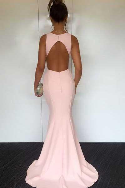 Pearl Pink Round Neck Open Back Mermaid Prom Dresses with Sweep Train, MP319|musebridals.com