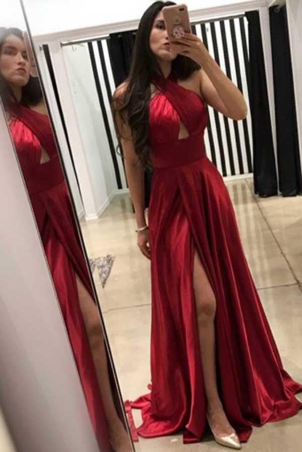 Dark Red Cross Neck Floor-Length A-Line Long Prom Dresses with Split Keyhole, MP184