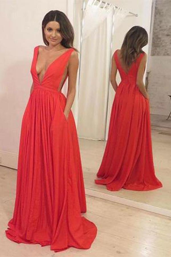 Simple Red Chiffon A-Line Floor-Length V Neck Long Prom Dresses, MP356