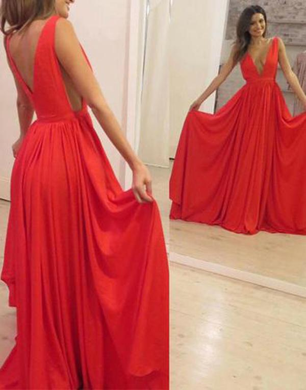Simple Red Chiffon A-Line Floor-Length V Neck Long Prom Dresses, MP356|musebridals.com