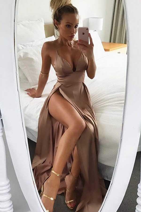 Brown Satin Deep V Neck Spaghetti Straps Thigh-High Slit Long Prom Dress, MP138 at musebridals.com