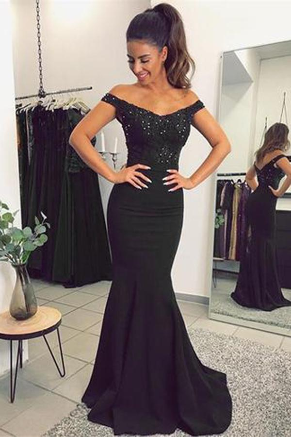 Lace Mermaid V-neck Off Shoulder Prom Dresses with Appliques, Evening Gowns, MP310