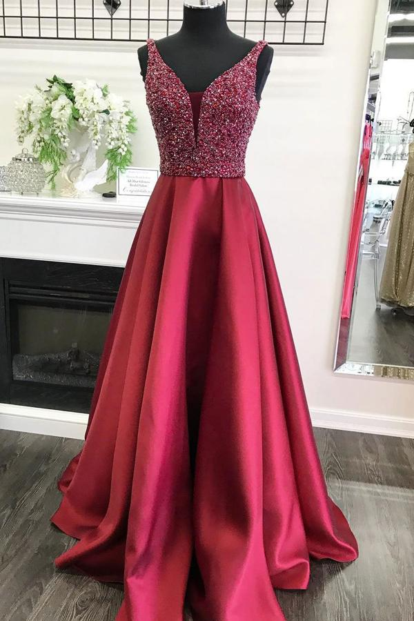Burgundy A-line V-neck Satin Beaded Bodice Long Prom Dresses, Evening Dress, MP156