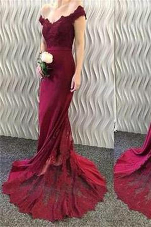 Burgundy Off Shoulder Mermaid Prom Dress With Small Train, Bridesmaid Dress, MP152