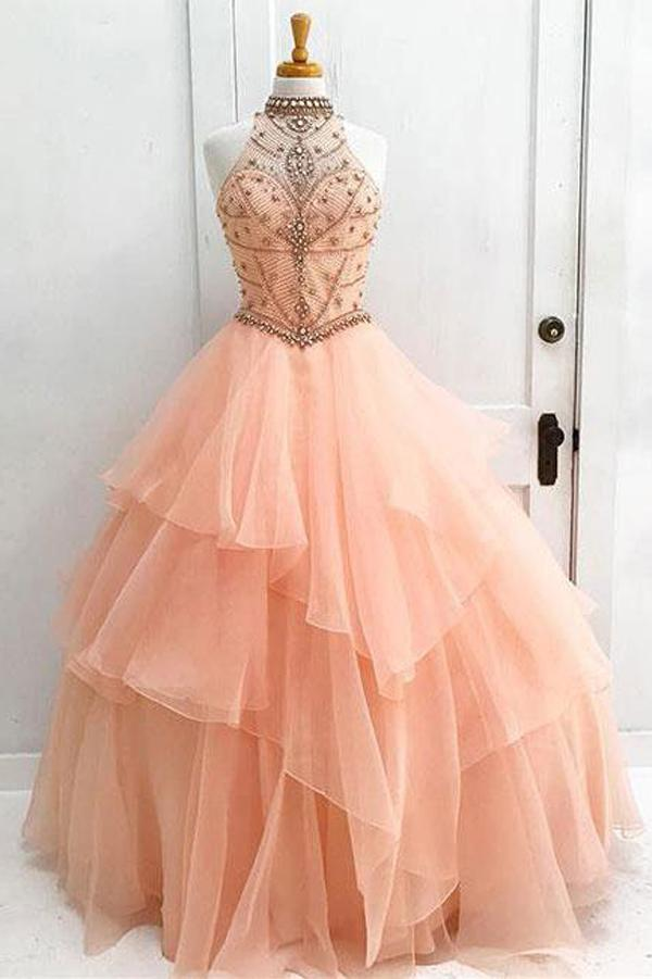 Organza High Neck Ball Gown Halter Beaded Prom Dresses Quinceanera Dress, MP315