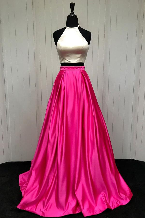 Simple Hot Pink Two Piece A-line Halter Cheap Long Prom Dresses, MP407