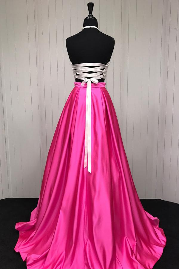 musebridals.com|Simple Hot Pink Two Piece A-line Halter Cheap Long Prom Dresses, MP407
