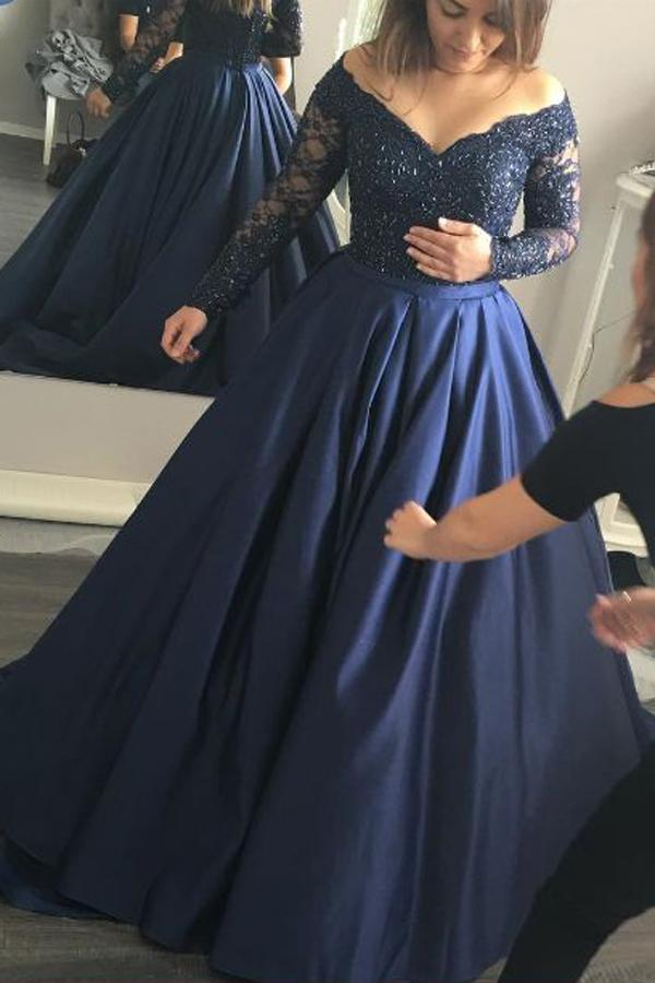 Charming Dark Navy Long Sleeve V neck Prom Dresses, Formal Dress, MP286