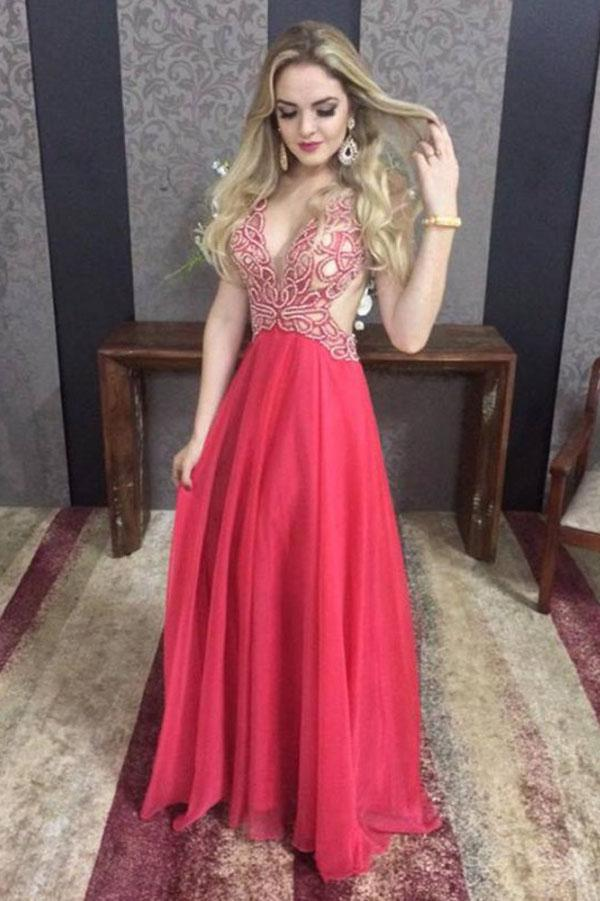 Red Chiffon Open Back A-line V-neck Beaded Floor Length Prom Dresses, MP415