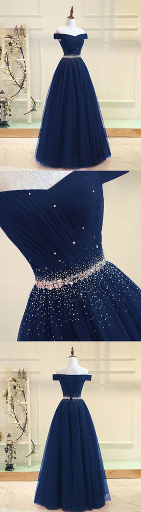 Musebridals.com offer Navy Blue Off Shoulder Tulle Floor Length Long Prom Dress, Evening Dresses, MP404