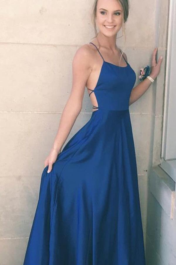 Navy Blue Satin Spaghetti Straps A-line Simple Long Prom Dress, Party Dresses, MP303