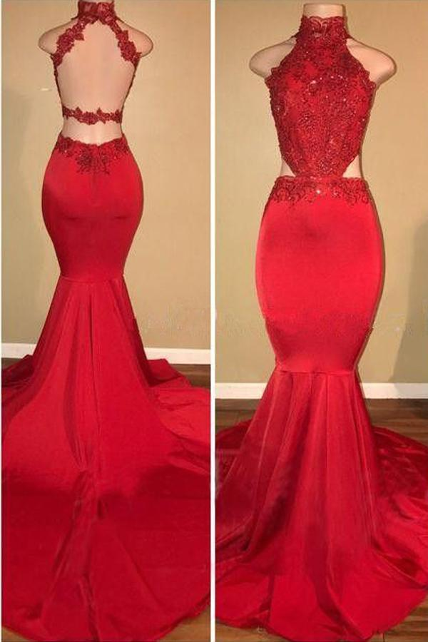 Red Lace Halter Mermaid Long Prom Dress With Train, Formal Dresses, MP359
