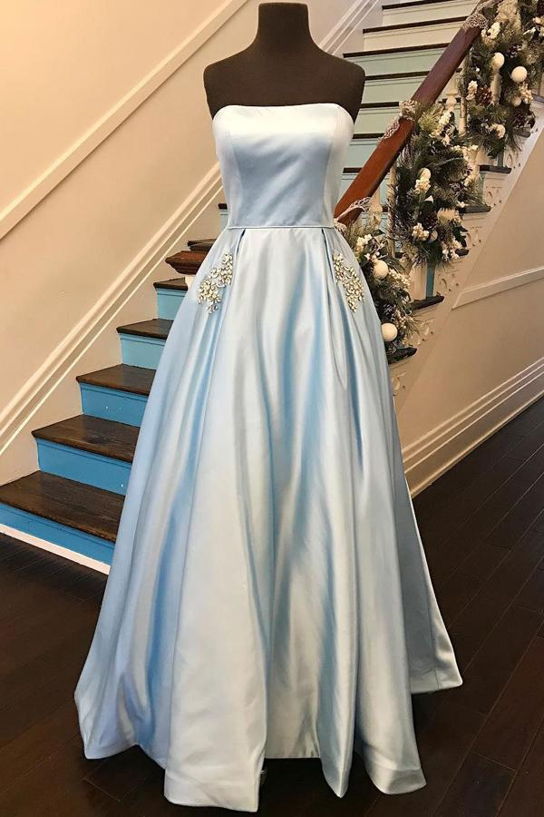 Sky Blue Strapless Off Shoulder Satin A-line Prom Dresses with Rhinestone Beading, MP360
