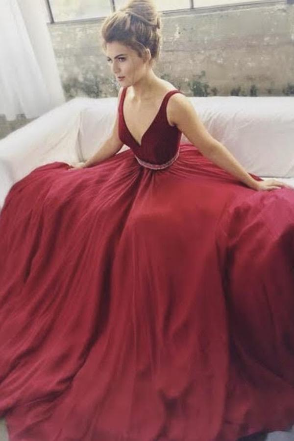 Burgundy V-neck Beaded A-line Long Prom Dresses, Cheap Formal Dresses, MP147