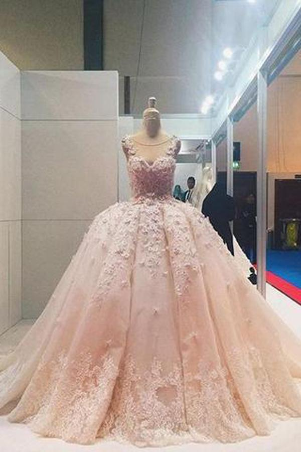 Pink Lace Beaded Ball Gown Applique Wedding Dresses Quinceanera Dress, MW204