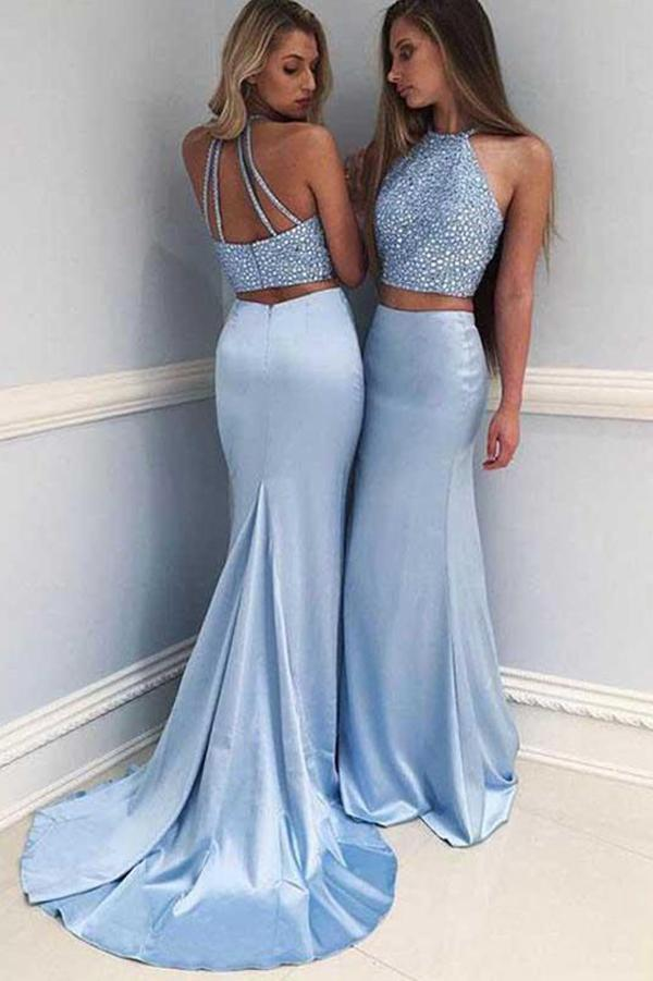 Two Piece Satin Halter Beaded Sleeveless Prom Dress With Sweep Train, MP377