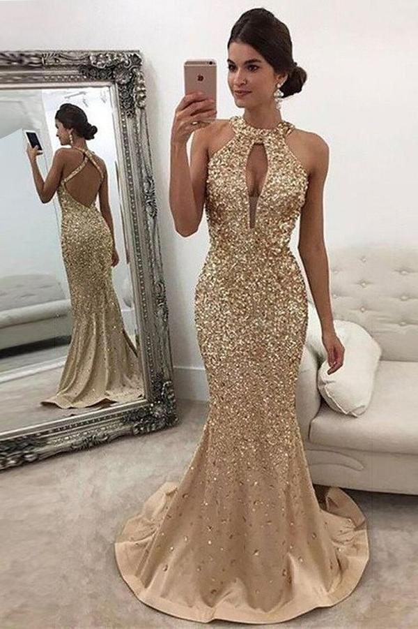 Gold Sequin Mermaid Sleeveless Halter Sweep Train Prom Dresses, MP299