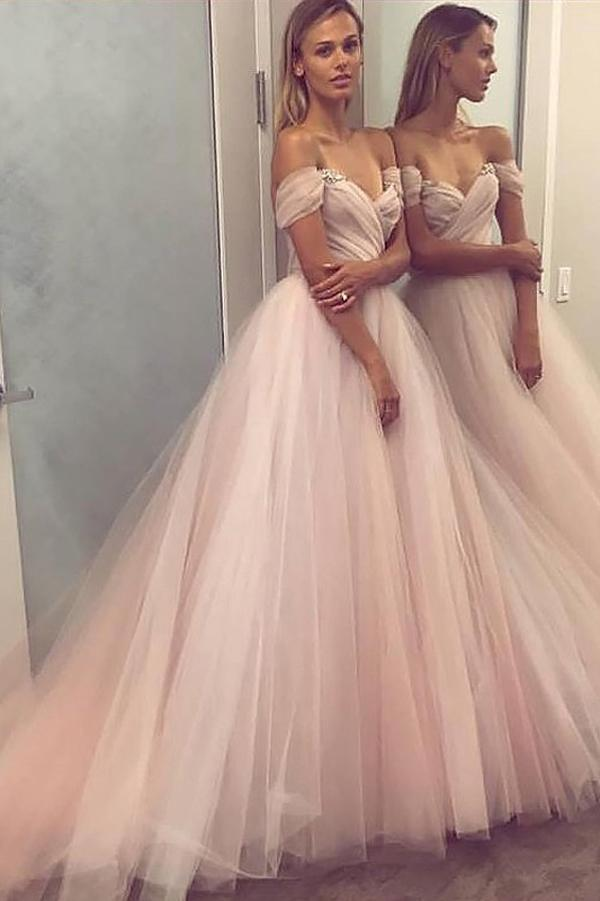Pink A-Line Off Shoulder Tulle Beaded Princess Sleeveless Long Prom Dress, MP117