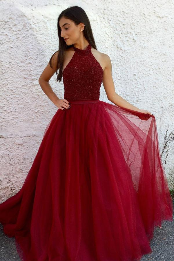 Burgundy Tulle A-line Beaded Halter Long Prom Dresses, Formal Dress, MP406