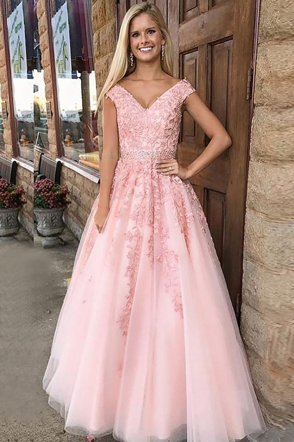 A-line Pink Tulle Princess V-Neck Floor-Length Long Prom Dresses with Appliques, MP425