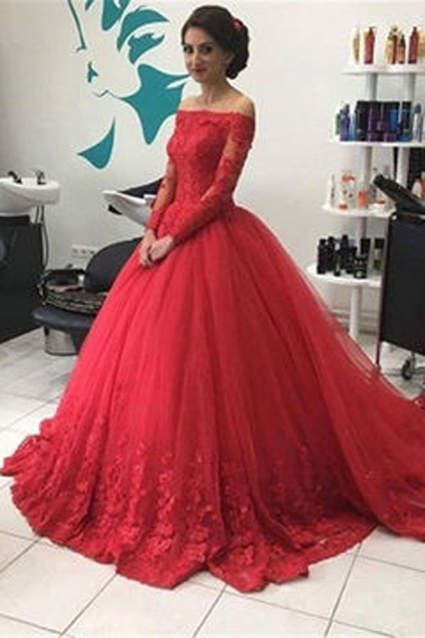 Red Off Shoulder Lace Tulle Long Sleeves Prom Dress Ball Gown Wedding Dresses, MP351