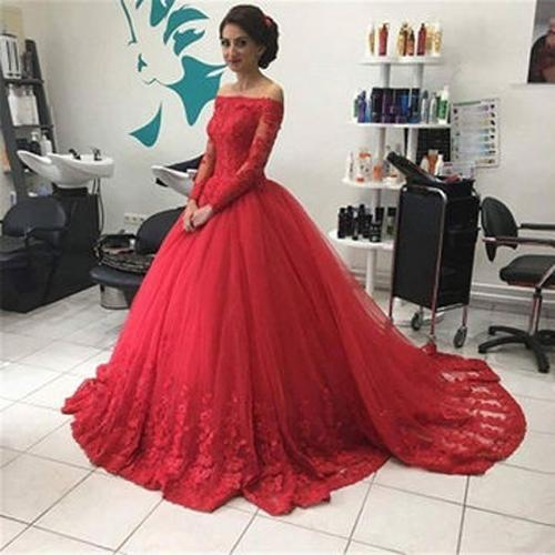 Red Off Shoulder Lace Tulle Long Sleeves Prom Dress Ball Gown Wedding Dresses, MP351|musebridals.com