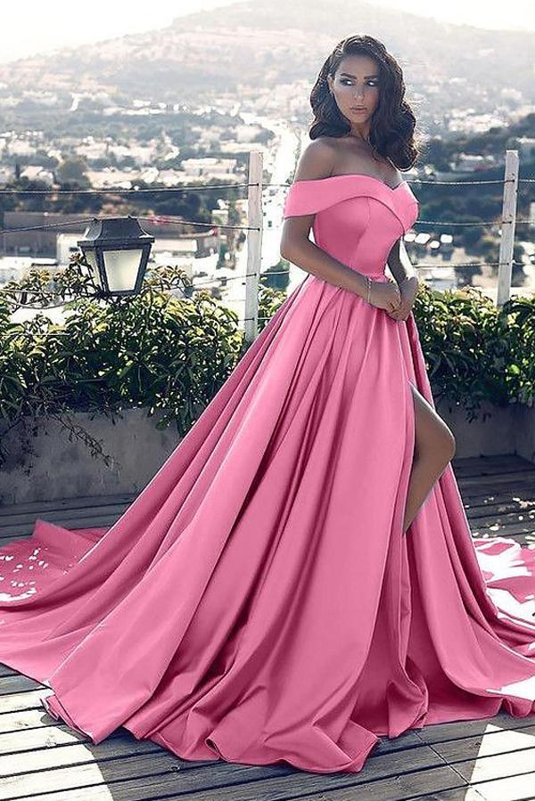 Pink Satin A-Line Off Shoulder Sleeveless Court Train Ruffles Prom Dresses, MP338