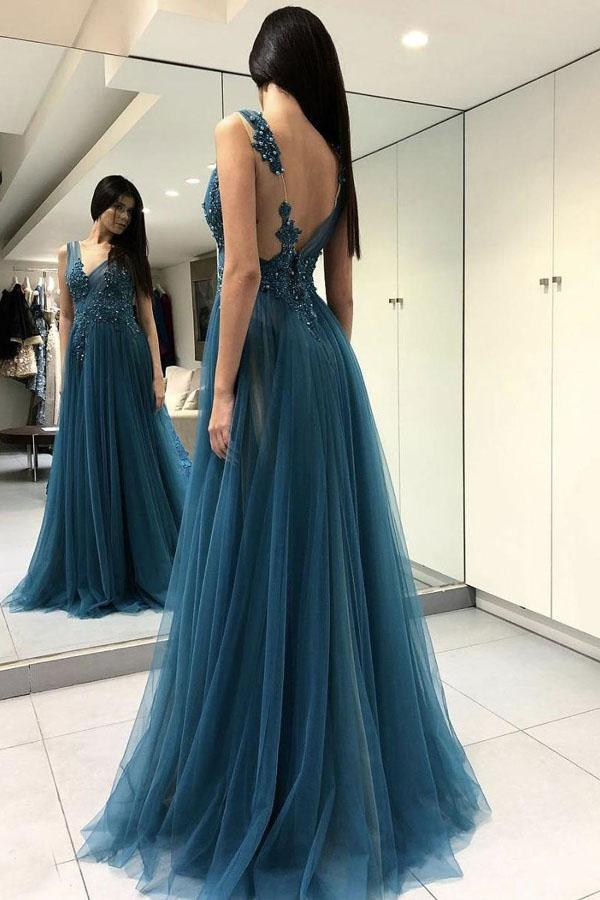 Blue Backless Lace See Through Thigh Slit Long Prom Dress with Beading, MP134