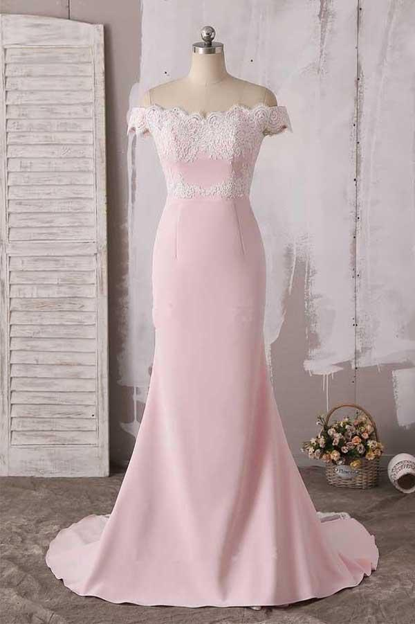 Fabulous Pink Lace Off Shoulder Neckline Long Prom Dress Evening Dress, MP214