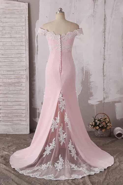 Fabulous Pink Lace Off Shoulder Neckline Long Prom Dress Evening Dress, MP214|musebridals.com