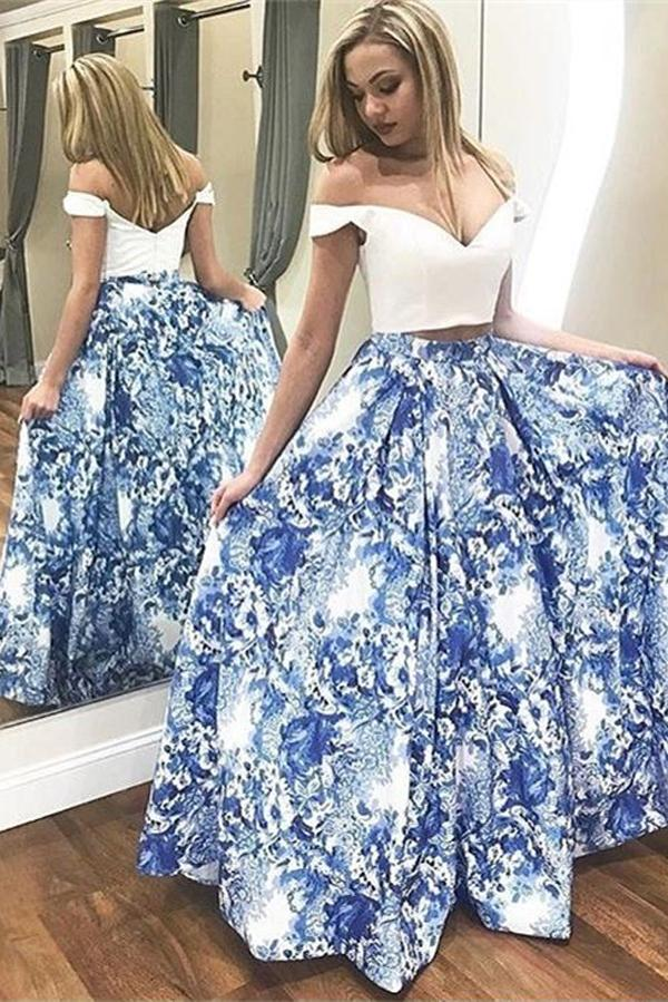 8f6444354962 Two Piece Blue Floral Satin Off-the-Shoulder Long Prom Dress, Evening Dress