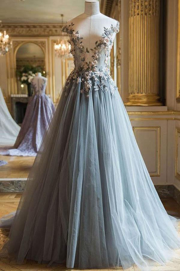 Grey Tulle A-line V neck Long Prom Dresses With Flowers Evening Dresses, MP253